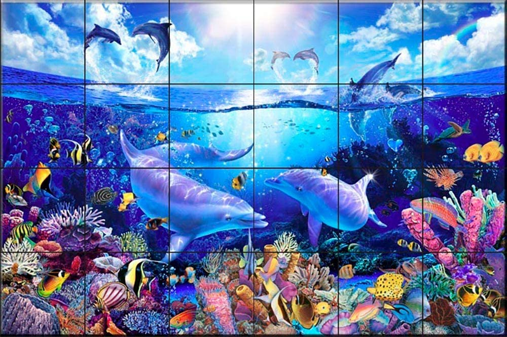 Ceramic Tile Mural - Day of The Dolphins- by Christian Riese Lassen