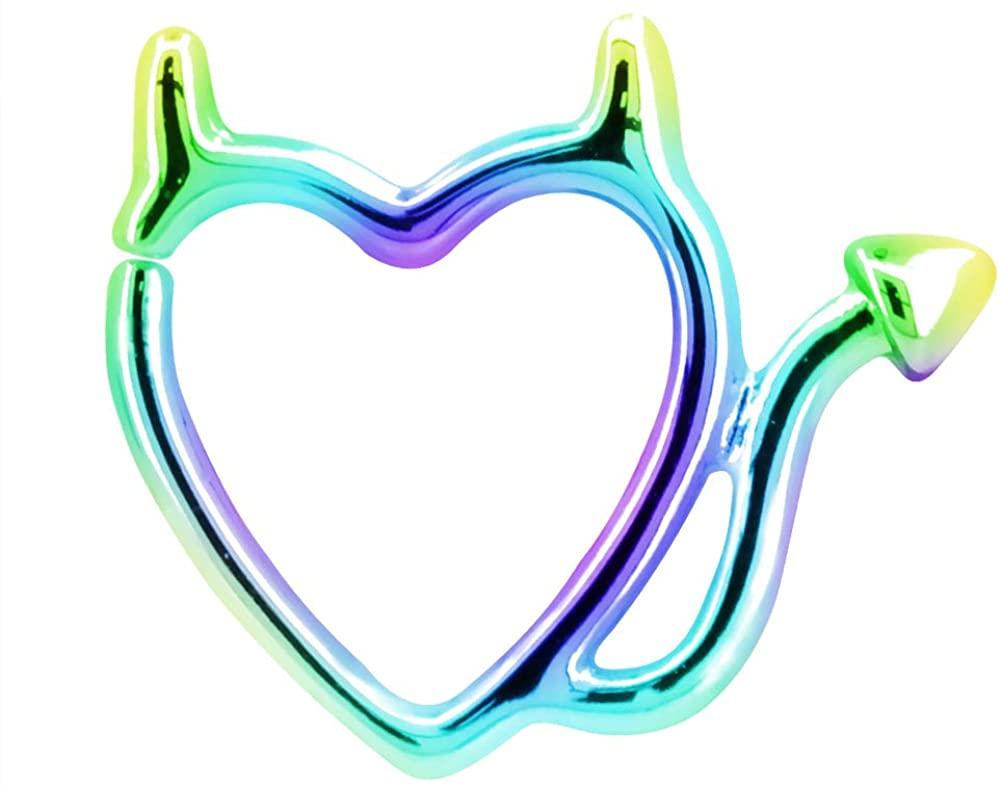 Jewseen 1 PC Cartilage Eearring 16G 316L Stainless Steel Devil Love Helix Earring Tragus Piercing Jewelry
