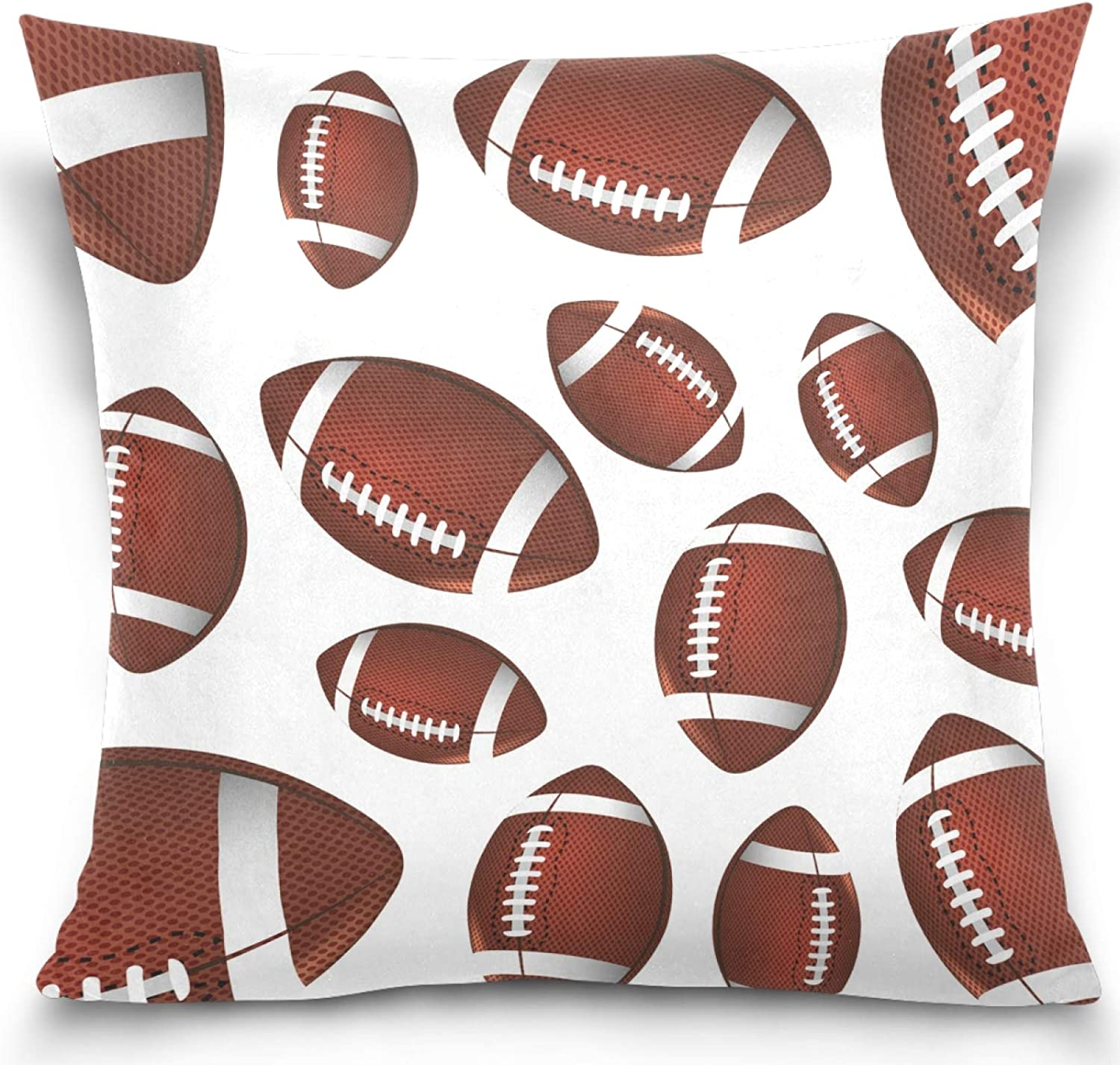 Kaariok Rugby Football Sport Print Pillow Cover Square Soft Cotton Velvet Pillowcase Cushion Case for Sofa Couch Bed Home Car Decor 20