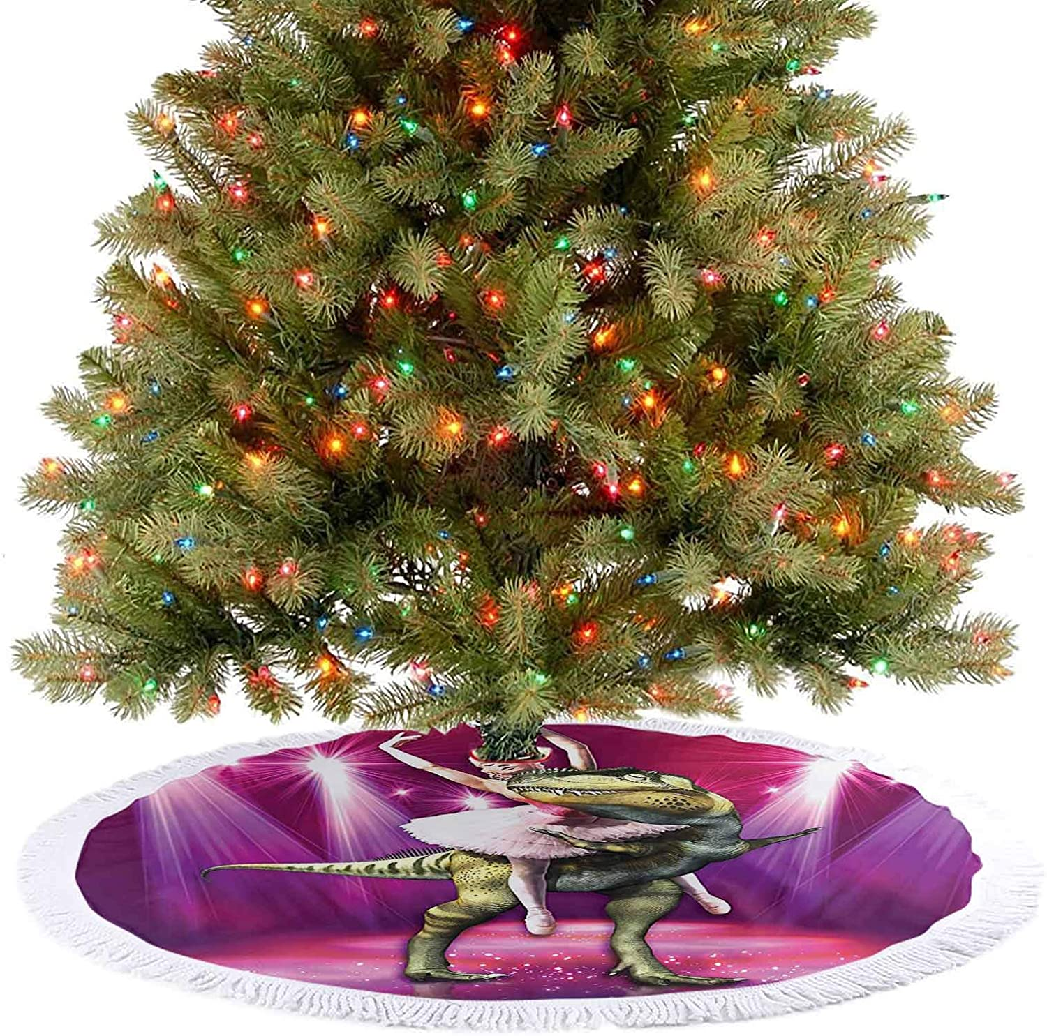 Adorise Modern Tree Skirt Ballerina Dancing with a Dinosaur Under Neon Lights Stage Unusual Image Hot Pink Christmas Decoration for Xmas Holiday Party Decoration - 48 Inch