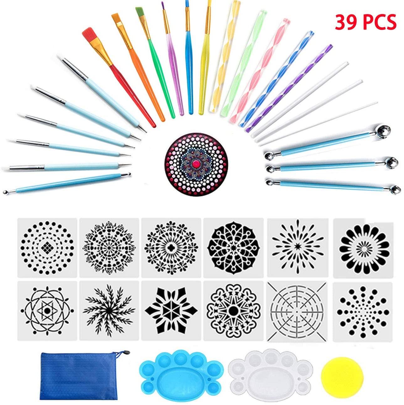 Mandala Dotting Tools, 39 PCS Dotting Tools Set with a Blue Zipper Waterproof Storage Bag, Dot Painting Tool for Rock Painting, Nail Dotting and Art Drawing