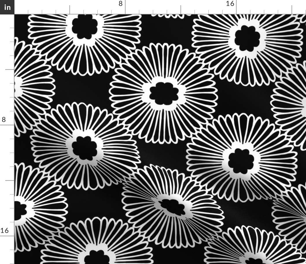 Spoonflower Fabric - Large Floral Flower Black White Nature Circle Bold Mod Daisy 1960S Printed on Basketweave Cotton Canvas Fabric by The Yard - Upholstery Home Decor Bottomweight