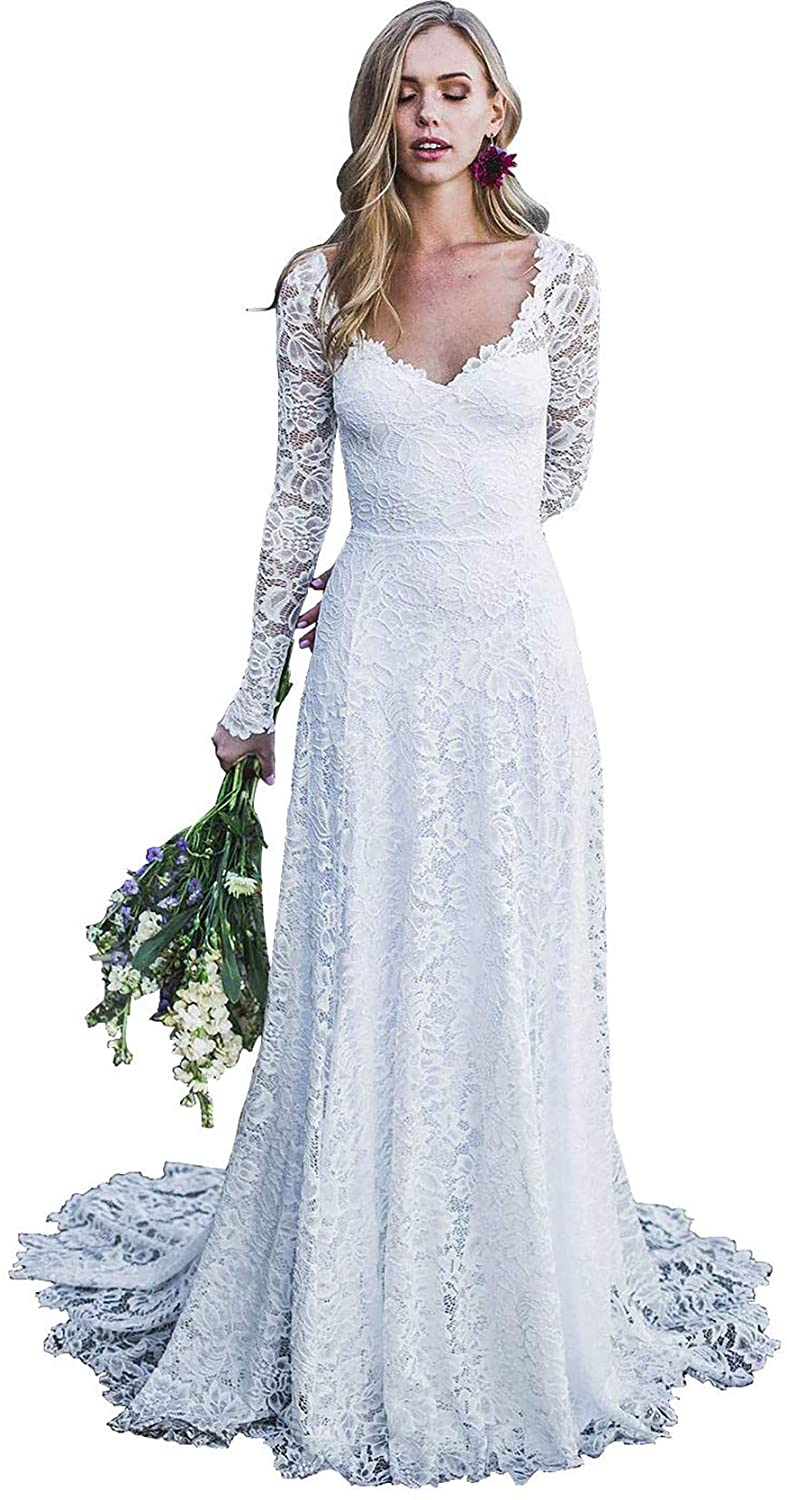 YnanLi Dress Women's A Line Long Lace Applique Wedding Dresses Open Back Bridal Gown V Neck Bride Prom Gowns White Size 14