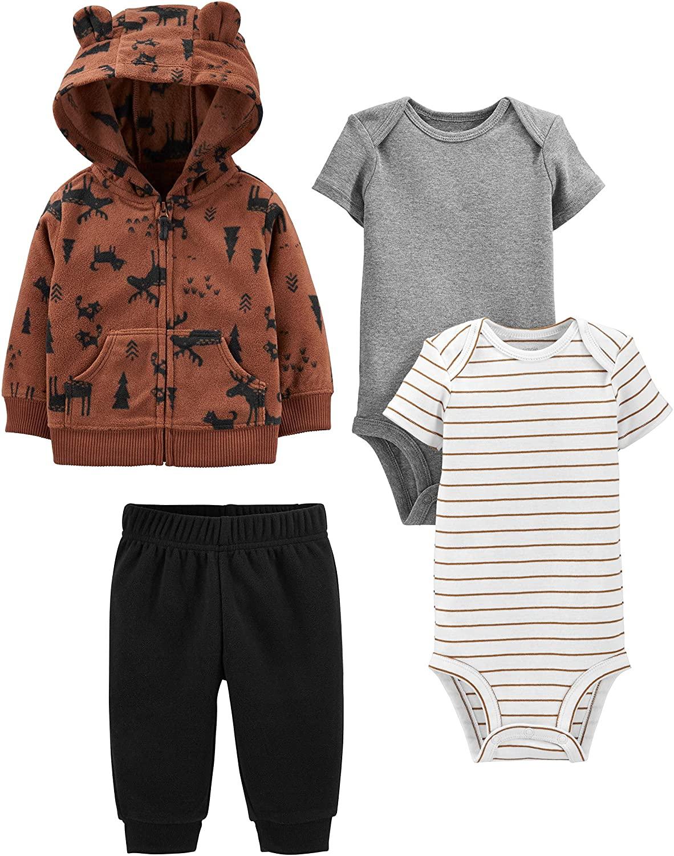 Simple Joys by Carter's Boys' 4-Piece Fleece Jacket, Pant, and Bodysuit Set, Brown Moose, 6-9 Months