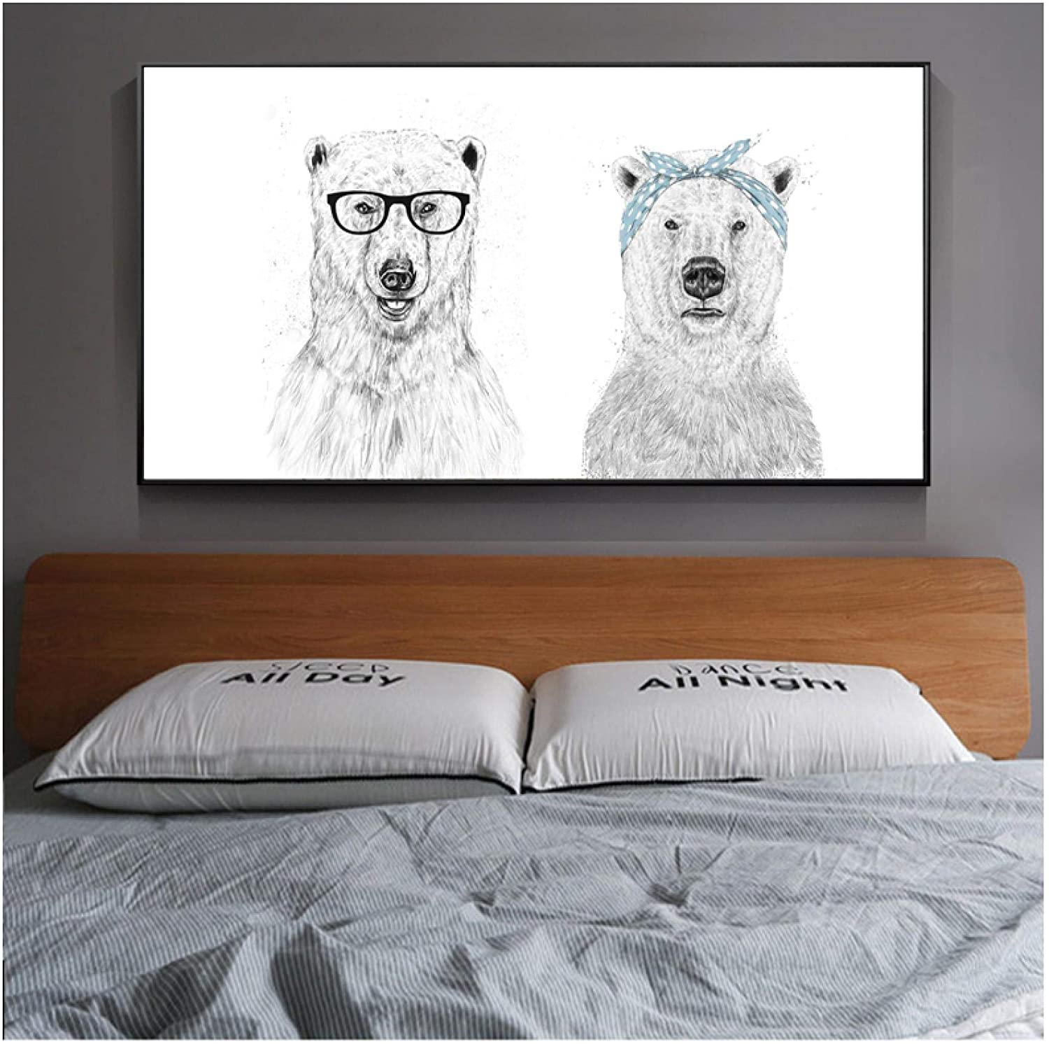 PIPAO Modern CanvasNordic Minimalist Polar Bear Animal on The Wall Posters and Prints Wall Art Pictures Home Decoration 19.7x39.4in(50x100cm) x1pcs NoFrame