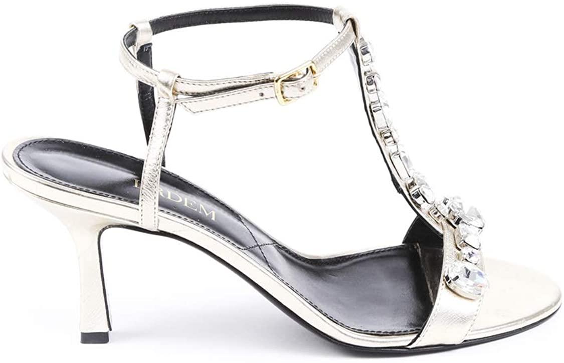 Erdem Crystal Leather T-Strap Sandals SZ 38 Silver