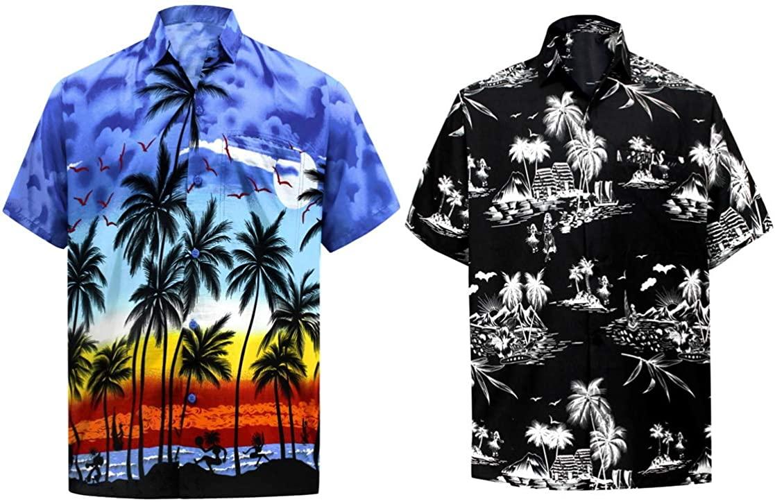 LA LEELA Men's Regular Fit Palm Tree Button Up Short Sleeve Hawaiian Shirt XL Work from Home Clothes Men Pack of 2