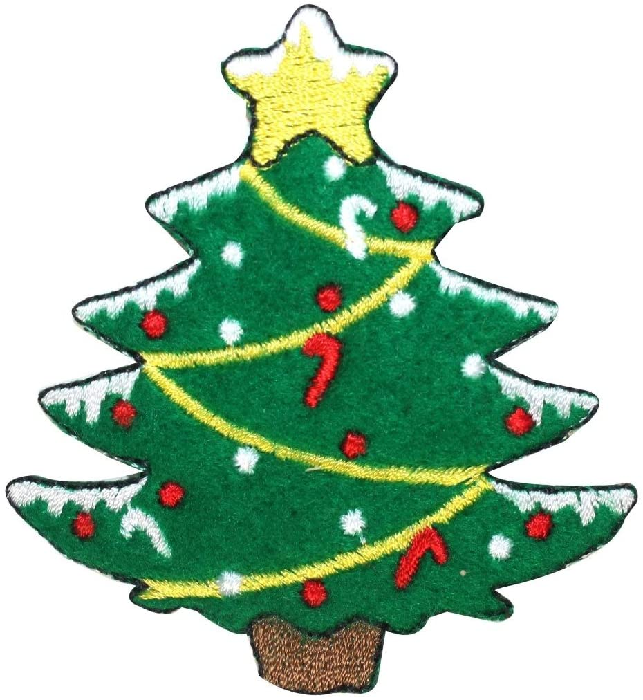 ID 8052 Christmas Tree Felt Patch Holiday Decorate Embroidered Iron On Applique