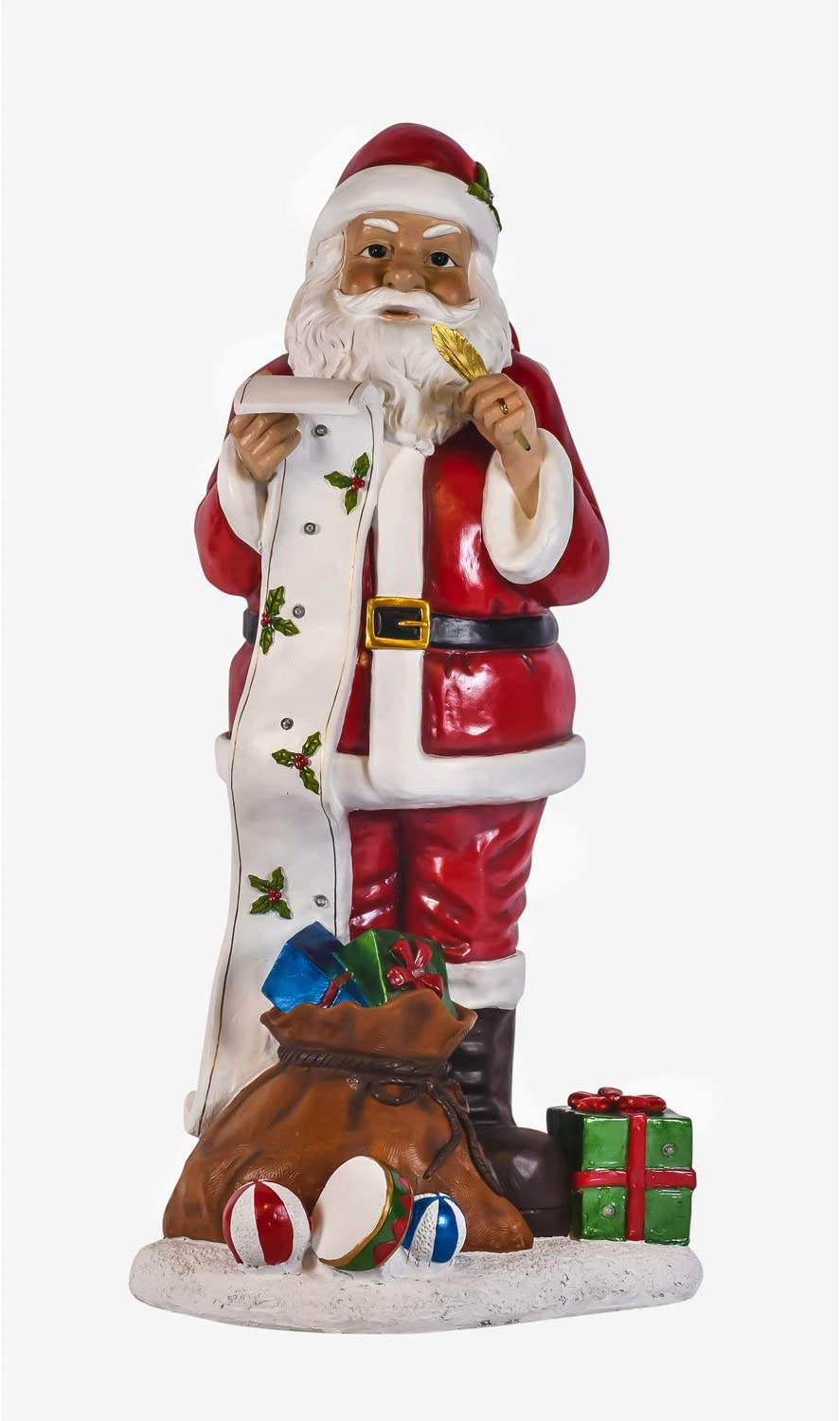 Evergreen Garden Beautiful Decorative Seasonal Solar Santa Claus Checking The List Statement Garden Statue - 28 x 15 x 55 Inches Fade and Weather Resistant Indoor/Outdoor Decoration