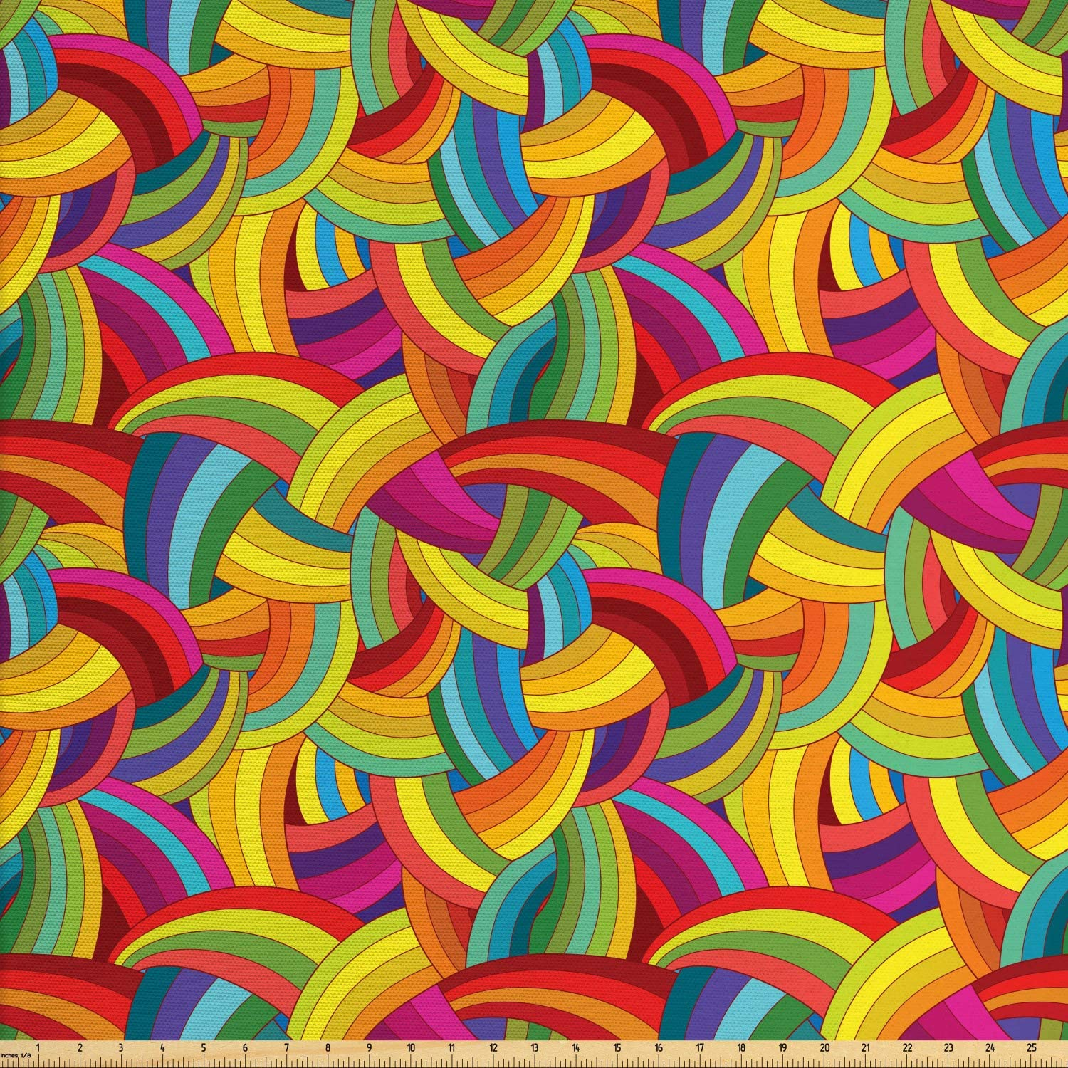 Lunarable Abstract Fabric by The Yard, Funky Rainbow Colored Psychedelic Interlace Circle Pattern Digital Retro Graphic, Decorative Fabric for Upholstery and Home Accents, 10 Yards, Yellow Magenta