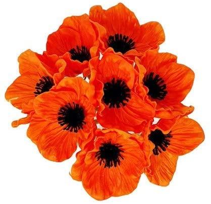 Floral Kingdom 8 pcs Real Touch Anemone Poppy Bouquet for Artificial Flower Decor (Orange)
