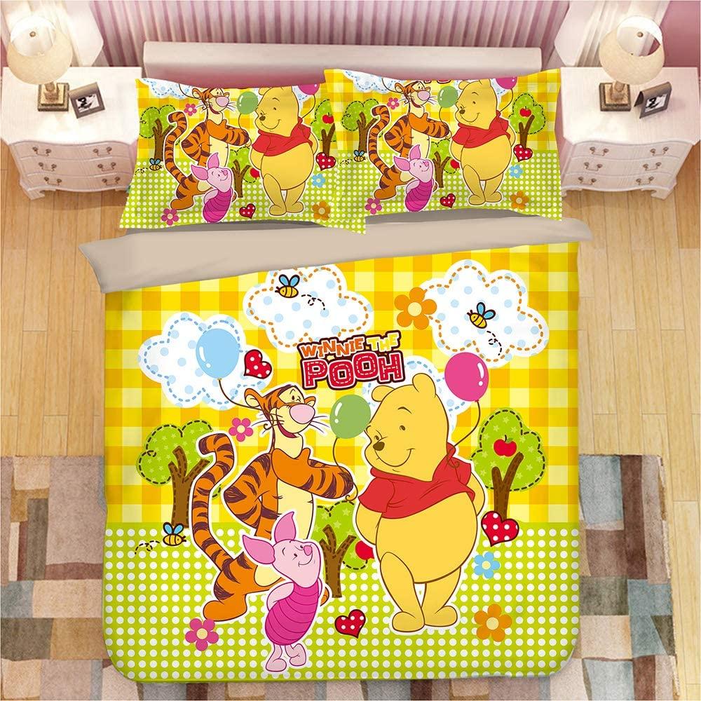 HEC 3D Pooh Bear Duvet Cover Printed Cartoon Bedding Sets Soft Microfiber Kids Teenagers Adult Boys Bed Set,3pcs 1 Duvet Cover 2 Pillowcas(No Comforter), King