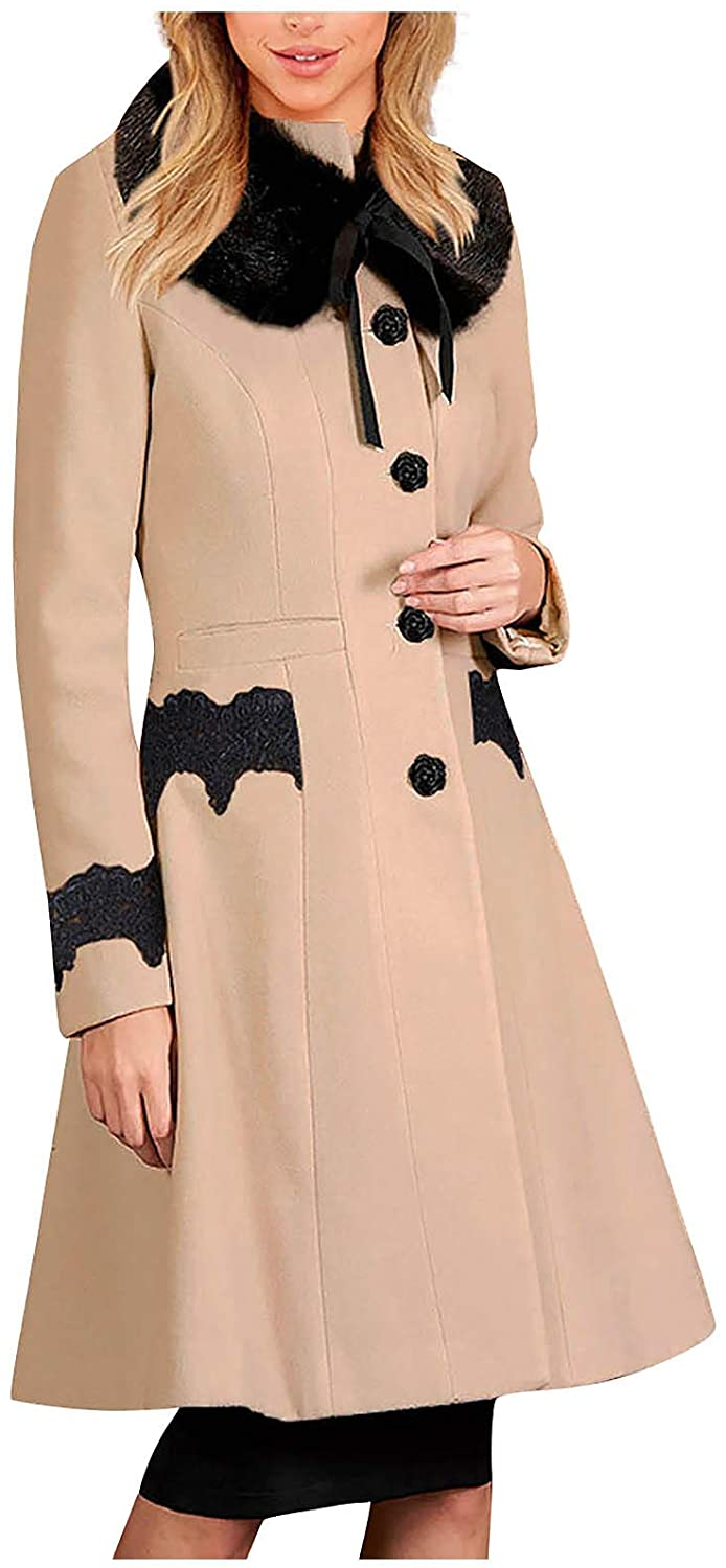 Women Faux Fur Collar Warm Trench Coats Button Vintage Wool Jackets with Lace Pockets,Nipped Waists,Scalloped Hem