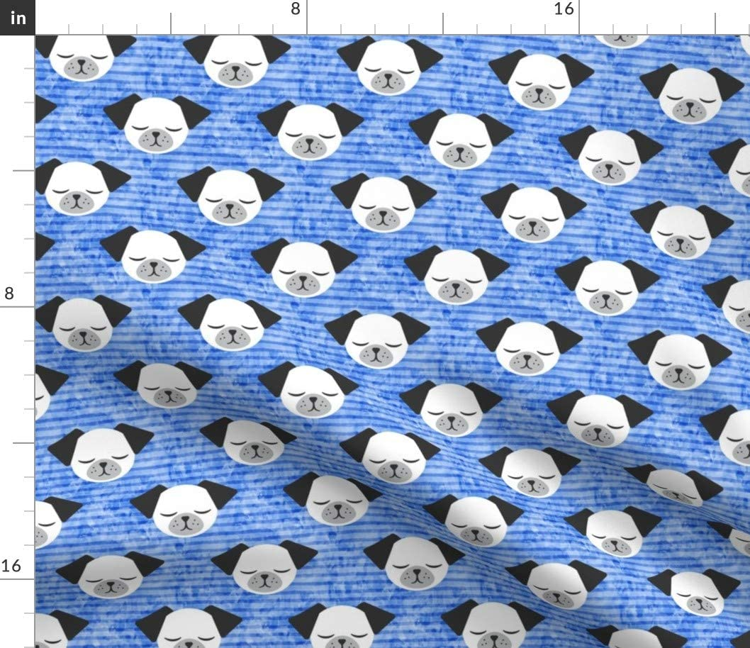 Spoonflower Fabric - Dogs Stripes Blue Baby Boy Nursery Cute Face White Pugs Puppy Pet Printed on Basketweave Cotton Canvas Fabric by The Yard - Upholstery Home Decor Bottomweight
