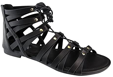 ANNA BRINA-10 Womens Studded Strappy Lace Up Back Zipper Gladiator Flat Sandals