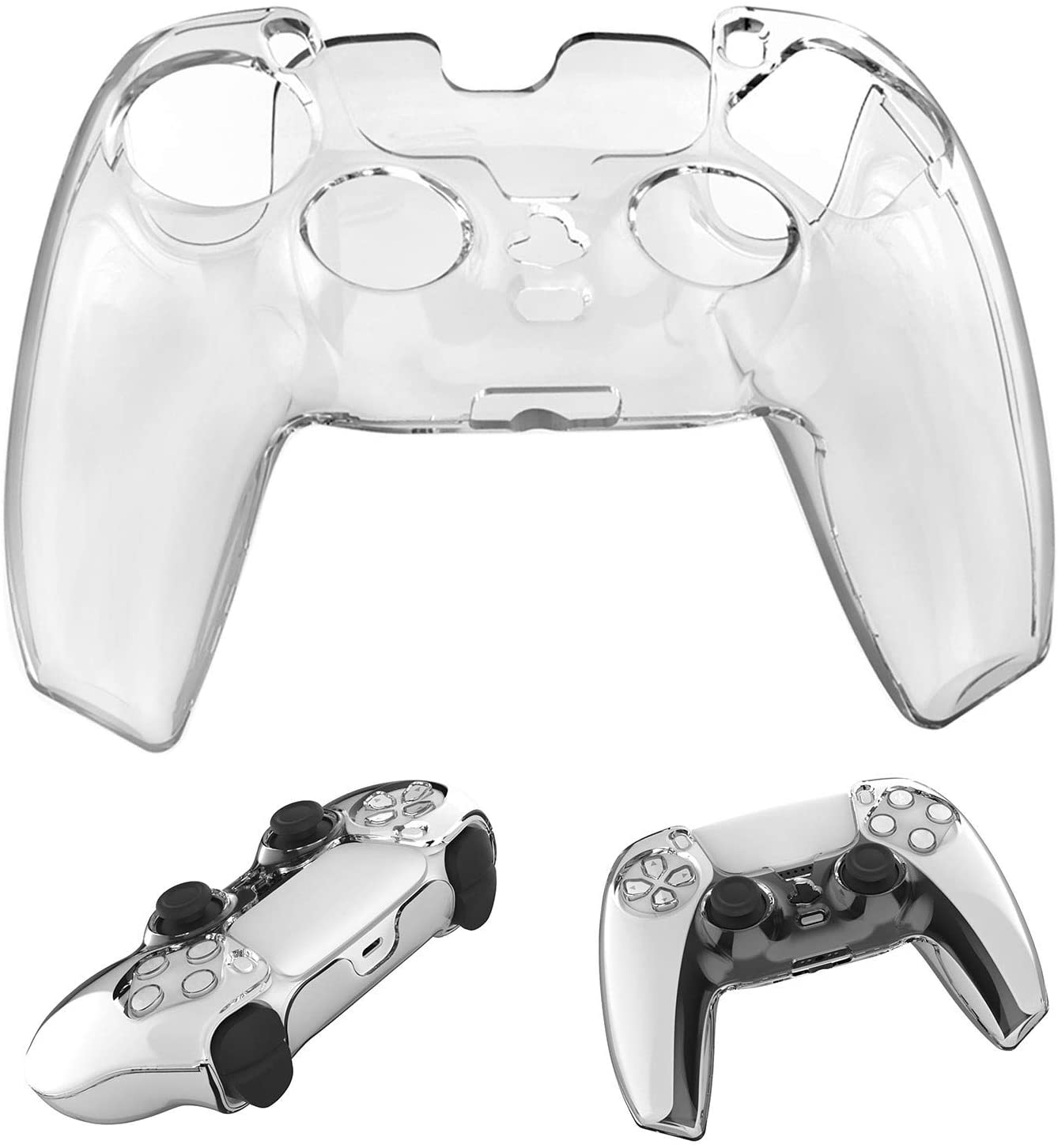 G/N PS5 Silicone Case Cover for PS5 Wireless Controller, Transparent PC Soft Case Skin Grip Cover for Playstation 5 Controller (Clear)
