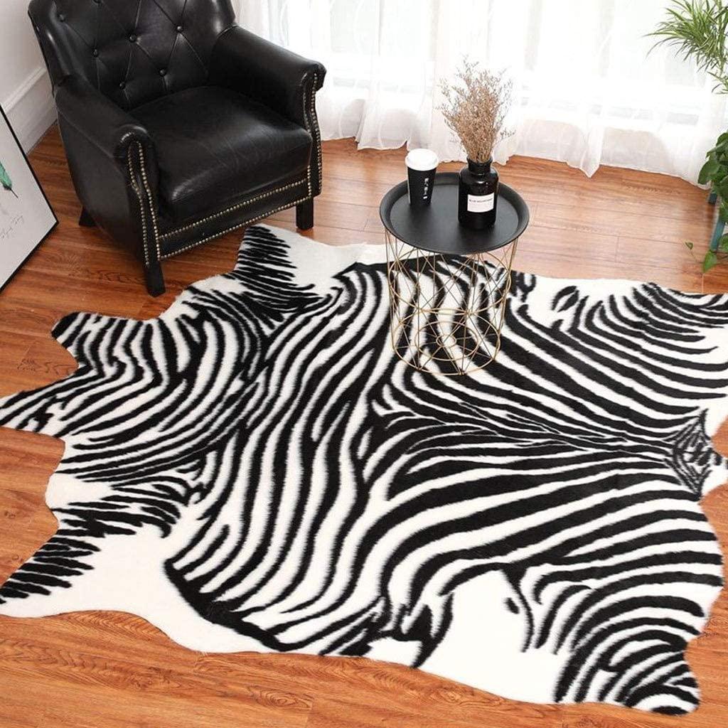 DZYQ Carpet Nordic Black and White Striped Zebra Pattern Carpet Imitation Animal Skin Animal Jacquard Carpet (Black and White, 90x100cm) (Color : A, Size : 170X195CM)