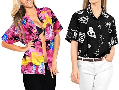 LA LEELA Women's Swim Hawaiian Shirt Short Sleeve Blouse Tops Shirt Work from Home Clothes Women Beach Shirt Blouse Shirt Combo Pack of 2 Size Large
