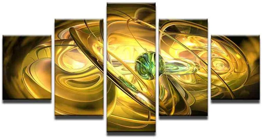 LHJF Paintings Colorful Abstract Stripe Green Ball Canvas Artwork Wall Decor Living Room Paintings Poster Pictures 5 Panel House Wall Decor