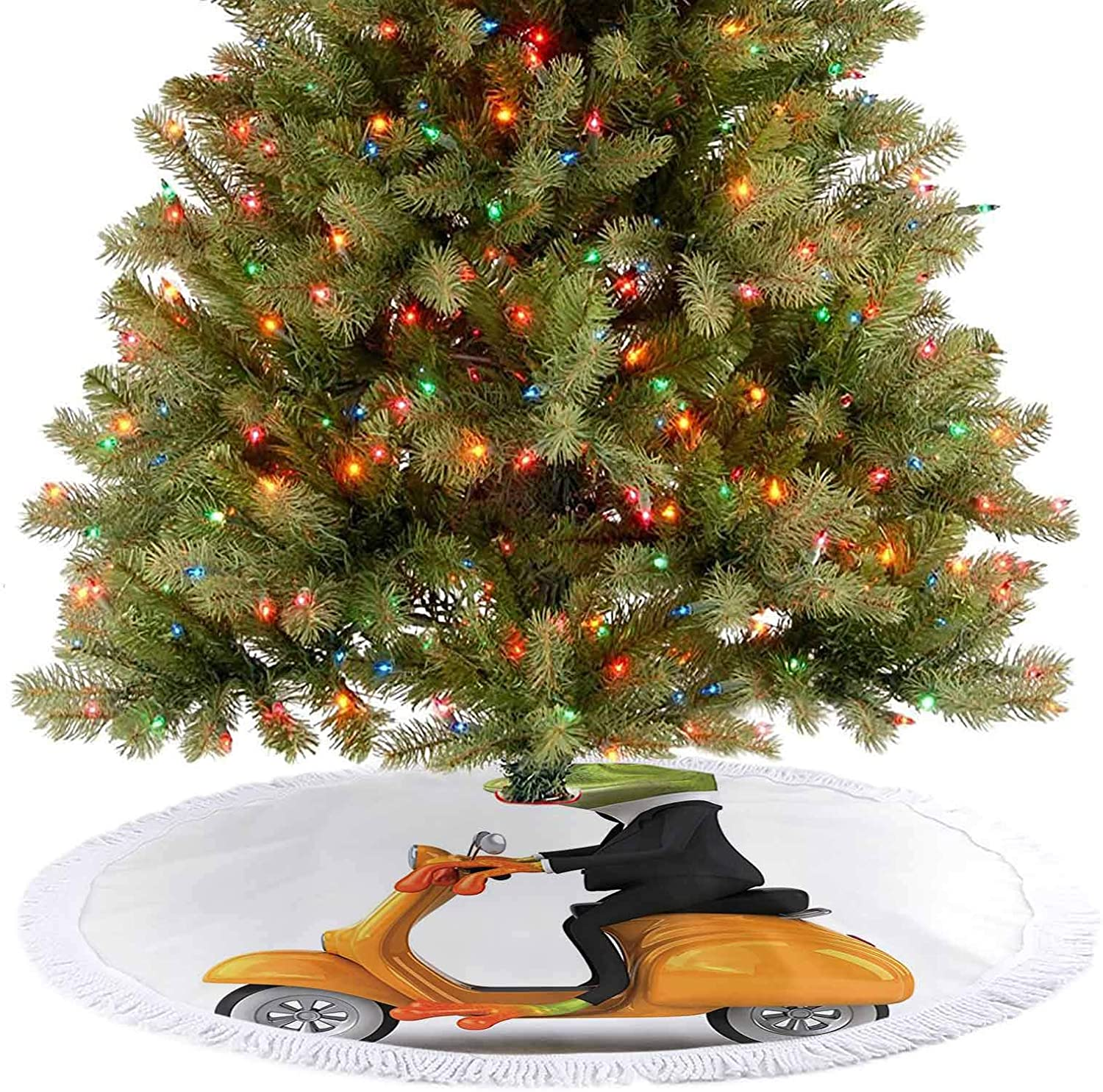 Tree Skirt Serious Italian Stylish Frog Riding Motorcycle Fun Nature Graphic Urban Art Print Green 2020 New Christmas Tree Skirt Decoration for Christmas Holiday Party Decorations - 48 Inch