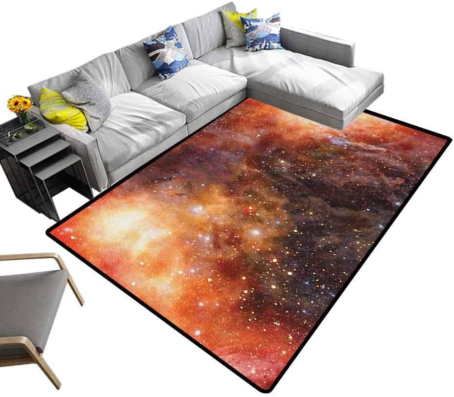 Soft Carpet Outer Space, Children's Playing Mat Nebula Gas Cloud in Deep Outer Space Galaxy Expanse Milky Way Print Comfy Bedroom Home Decorate Burnt Orange Black, 6.5 x 10 Feet