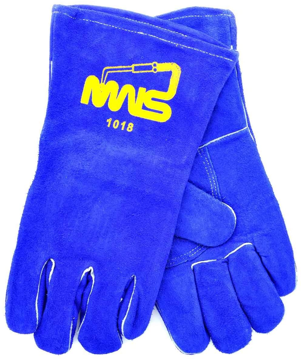 Blue 14 Shoulder Split Cowhide Cotton/Foam Lined Insulated Welders Gloves With Reinforced Thumb, Welted Fingers And Para-aramid synthetic fiber Stitching (Pair) [Set of 12]