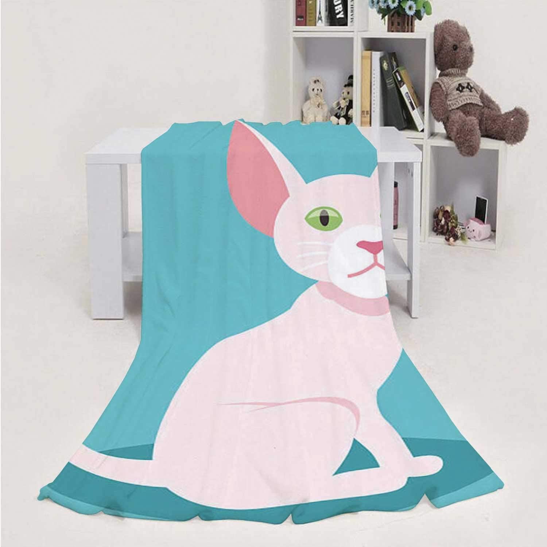 Dxichy Cute sphnx cat Mascot- - Domestic Cat,Throw Blanket Soft Fuzz Microfiber Sofa Couch Blanket Sphnx Hairless Cat 60''x80''(WxL)