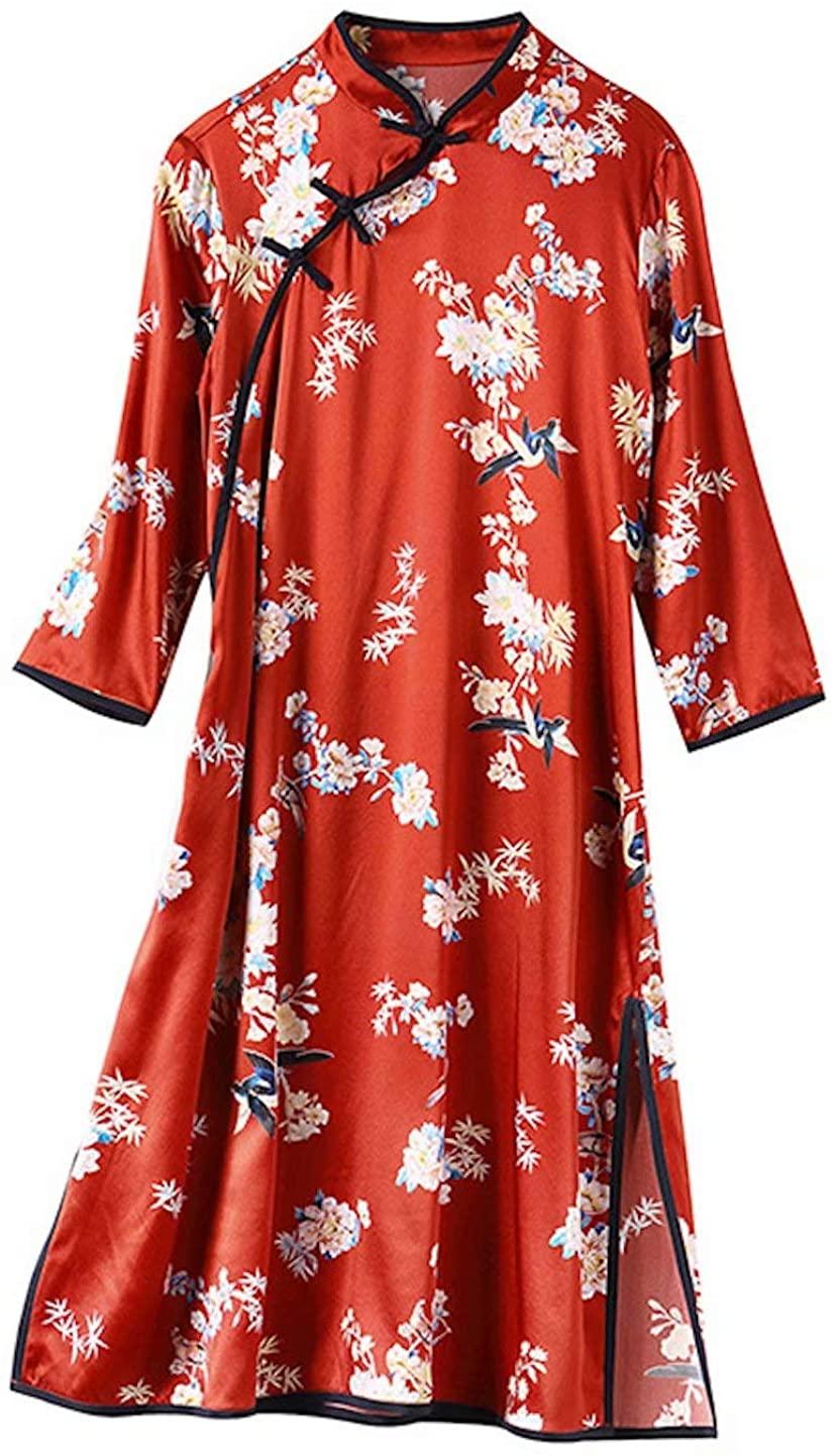 HangErFeng Everyday Dress Silk Printing Modified Cheongsam Middle Sleeve Mock Neck Knee Length Red Skirt 2110