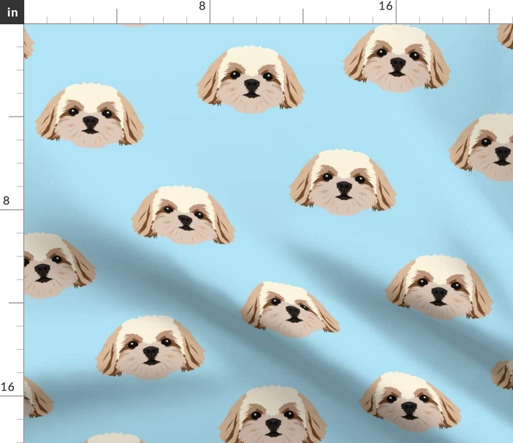 Spoonflower Fabric - Shih Tzu Dogs Pattern Blue Fun Pets Cute Kids Bright Face Puppy Printed on Basketweave Cotton Canvas Fabric by The Yard - Upholstery Home Decor Bottomweight Apparel