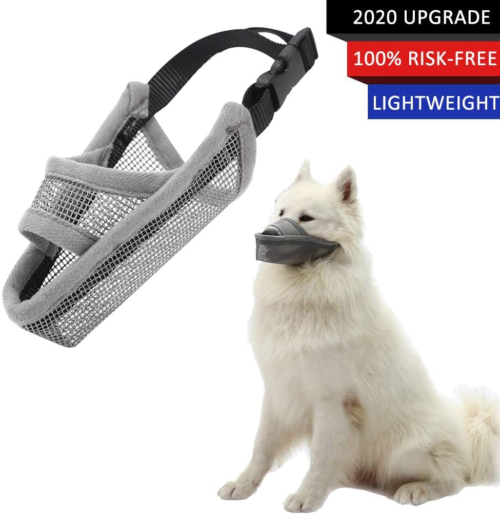 Coppthinktu Dog Muzzle for Biting Barking Chewing, Adjustable Dog Mouth Cover for Small Medium Large Dog, Anti-Biting Barking Muzzles, Soft Comfortable Dog Muzzle for Long Snout Dogs