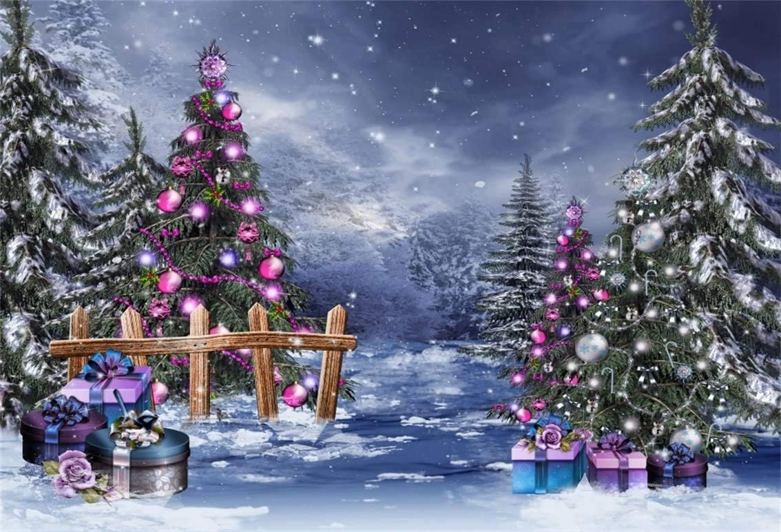 OERJU 7x5ft Merry Christmas Backdrop Winter Snowing Night Fir Forest Night Xmas Tree Christmas Background for Photography Christmas Eve Decor New Year Party Banner Adults Kids Xmas Photo Wallpaper