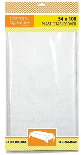 Hannah K. Signature Collection Plastic Rectangular 54x108 | White Lace | 1 Pc Table Cover, 54 x 108