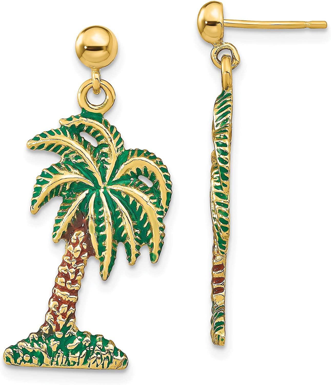 14K with Enamel Palm Tree Dangle Earrings Outdoors & Nature