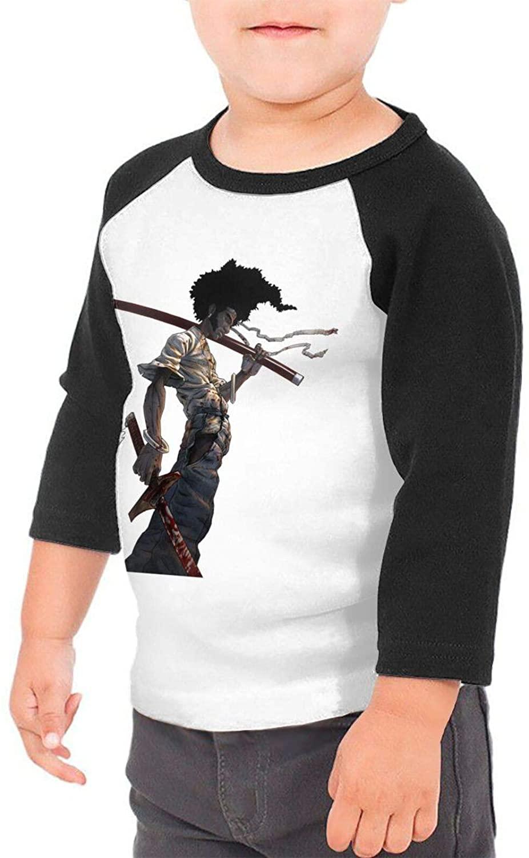 Afro Samurai Cartoon Boys & Girls Infant 100% Cotton Sleeve Raglan T-Shirts Unisex