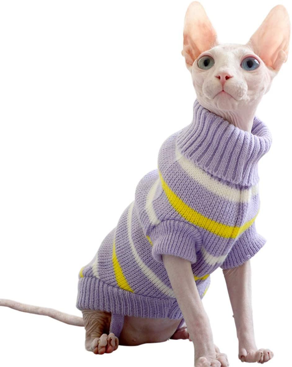 Bonaweite Hairless Cats Stripe Vest Turtleneck Sweater, Breathable Adorable Cat Wear Shirt Clothes, Cat's Pajamas Jumpsuit for Sphynx, Cornish Rex, Devon Rex, Peterbald