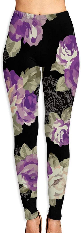 AUISS Yoga Pants for Women Girl Leggings Rosenmuster Running Workout Fitness Long Trousers Training Gym