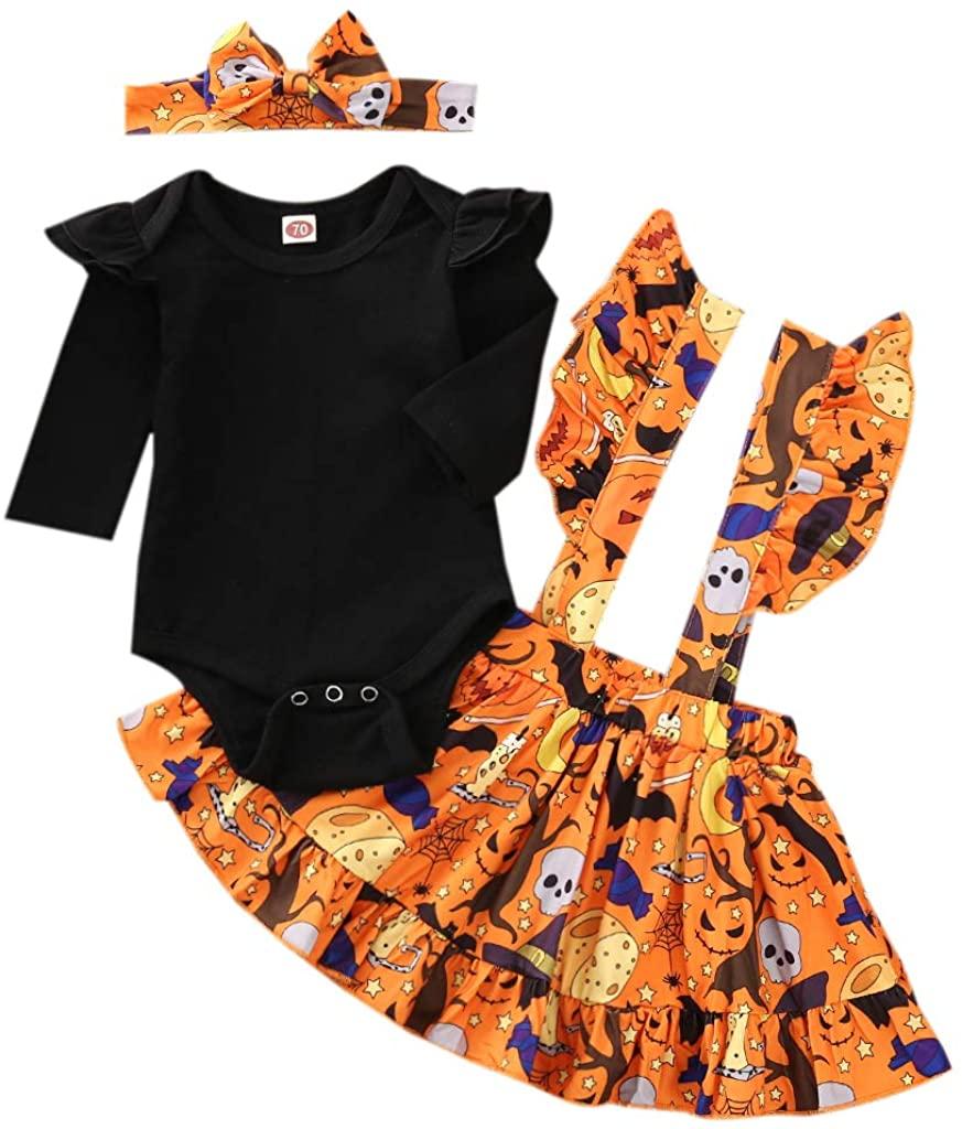 Seyurigaoka Baby Girl Halloween Outfits Romper Suit, Long Sleeve Orange Strap Dress, Autumn Clothing with Bow Headdress