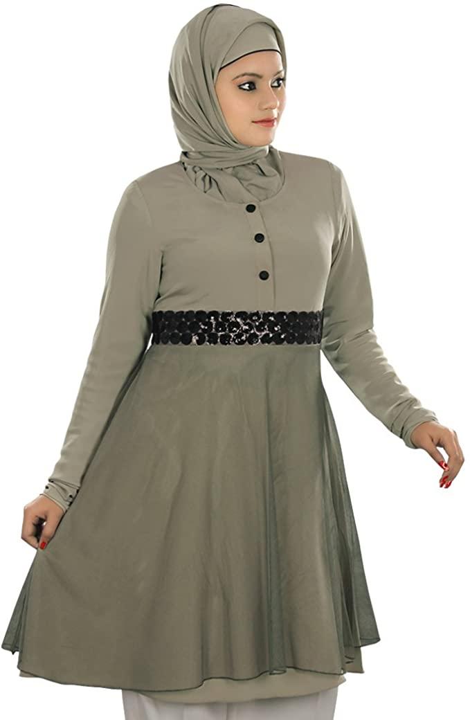 MyBatua Women's Islamic Clothing Elegant Shabista Tunic in Warm Grey