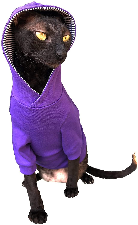Kotomoda Sphynx Cat's Hoodie InPurple Naked Cat Hairless Cat Clothes