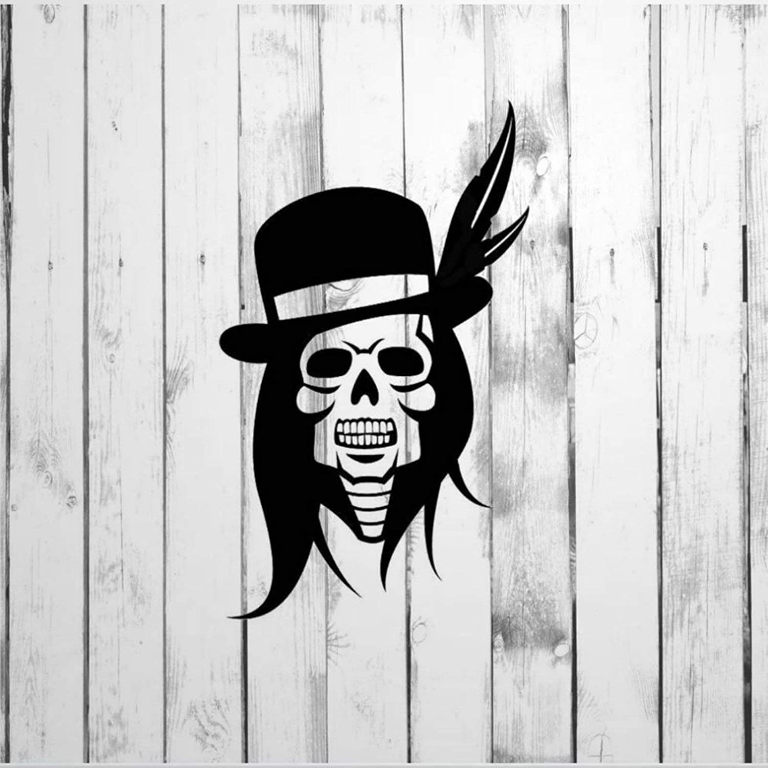 DONL9BAUER Decal, Skeleton Skull with Top Hat, Feathers, Long Hair Car Stickers Vinyl Auto Scratch Cover Car Decal for Home Truck Computer Laptop Travel Case Tumbler Door Window Bumper Decor