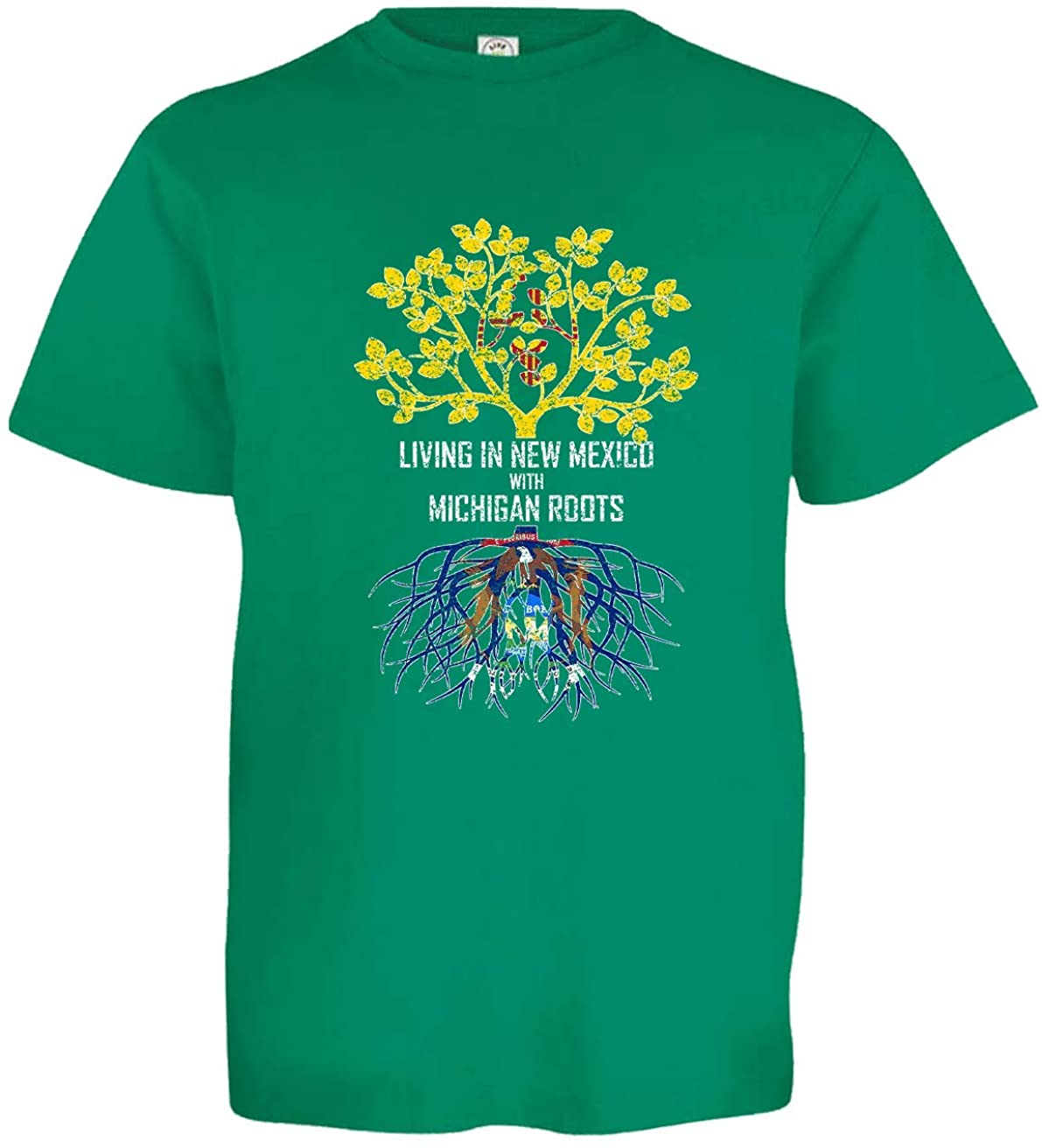HARD EDGE DESIGN Girl's Youth Living in New Mexico with Michigan Roots T-Shirt