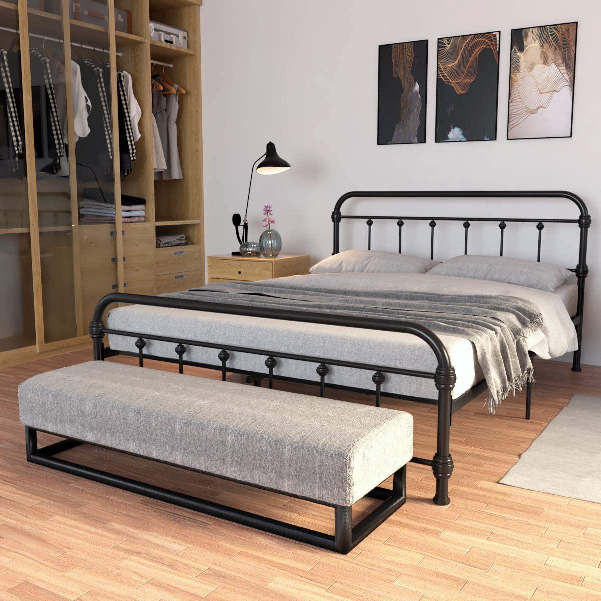 JAXPETY Queen Size Bedroom Metal Platform, Bed Frame with Wood Slats Mattress, Foundation w/Vintage Headboard, Black