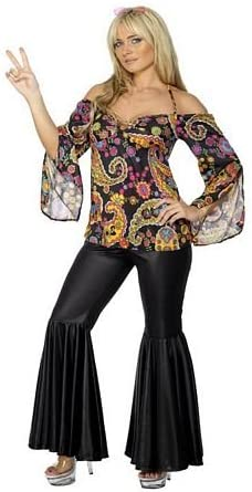 Smiffy's Women's Patterned Top and Flared Trousers Hippie Costume