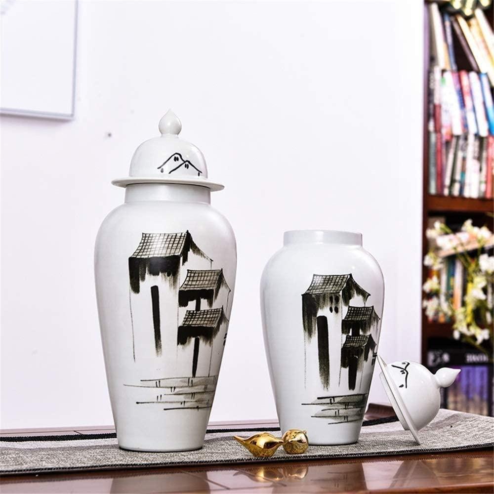 WEM Vases Ceramic Home Decor Table Christmas Wedding Bride Gift Gift White Painted 41.5 17.5Cm Art Decorative Vase