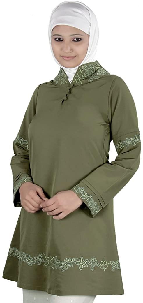 MyBatua Women's Islamic Clothing Mariam Tunic in Olive Green