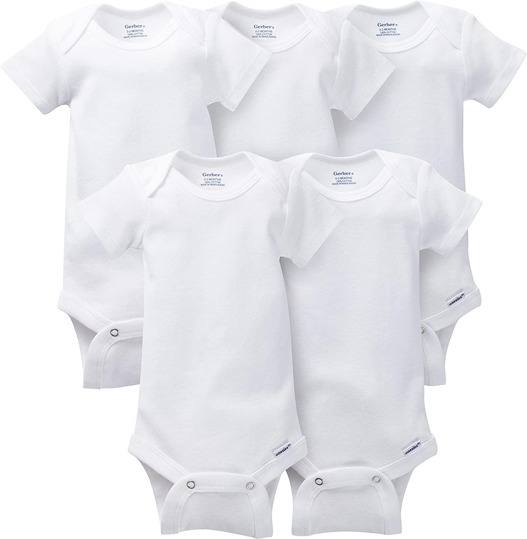 Unknown baby girls 5-pack Solid Onesies Bodysuits unisex bodysuits, White, 18 Months US