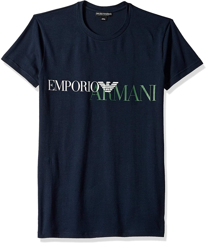 Emporio Armani Mens Mega Logo Crew Neck T-Shirt