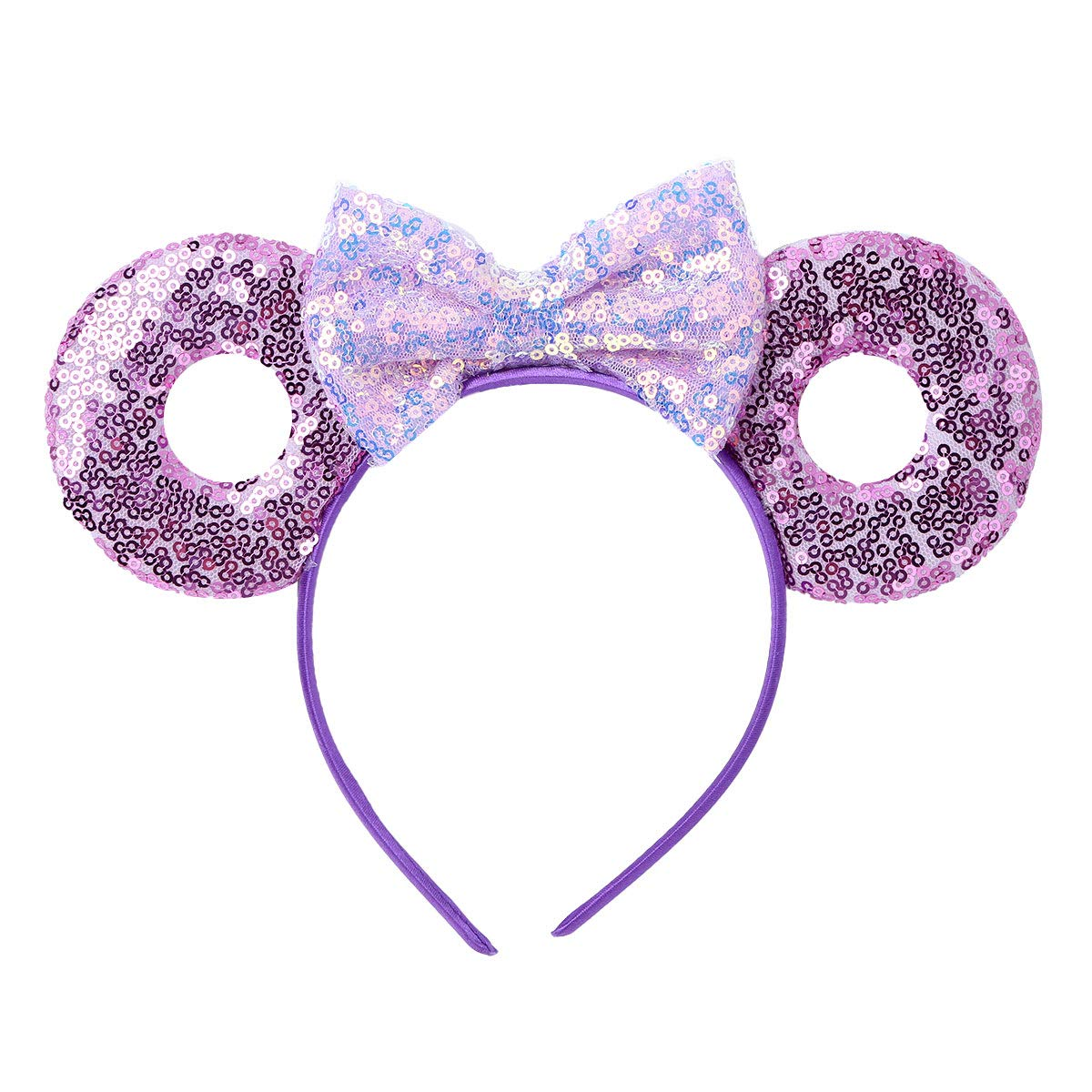 YiZYiF Girls Cute Glitter Ears Headband Shiny Sequins Bowknot Cartoon Hairbands for Daily Wearing and Party Decoration Purple (Type C) One Size