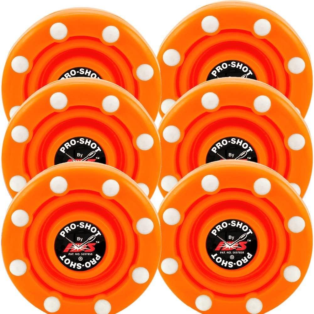 6 Pack of IDS Roller Hockey Puck Pro Shot (Blaze Orange)