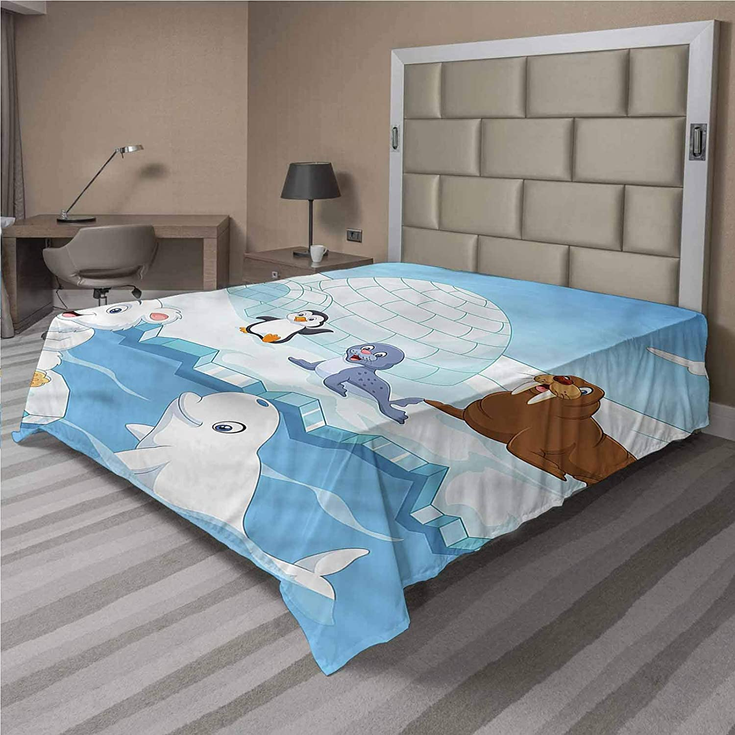 LCGGDB Kids Flat Top Sheet,Polar Bears Seal Penguins Soft Comfortable Top Sheet Decorative Bedding 1 Piece,Queen Size,Fit for Oversize and Extra Height Queen Bed